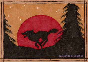 Red moon wolf (Patron ink card)