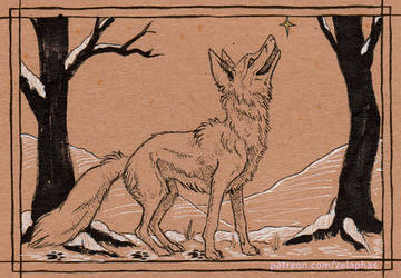 Fox in the snow (Patron ink card)