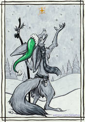 Jumping Jackal in the snow (Patron ink card)