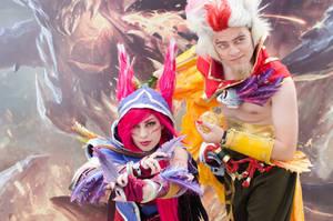 Xayah and Rakan cosplay! by AnnaPerci