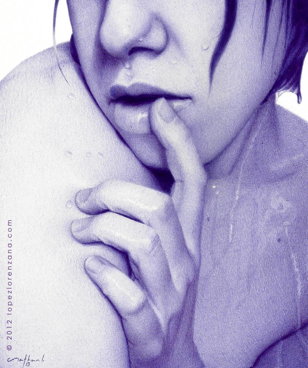 ...Wet Skin - Ballpoint Pen Artwork by LopezLorenzana