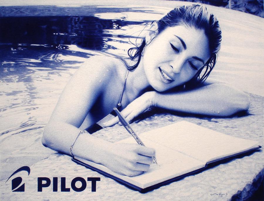 Ballpoint Pen Drawing - Commission for Pilot Pens by LopezLorenzana