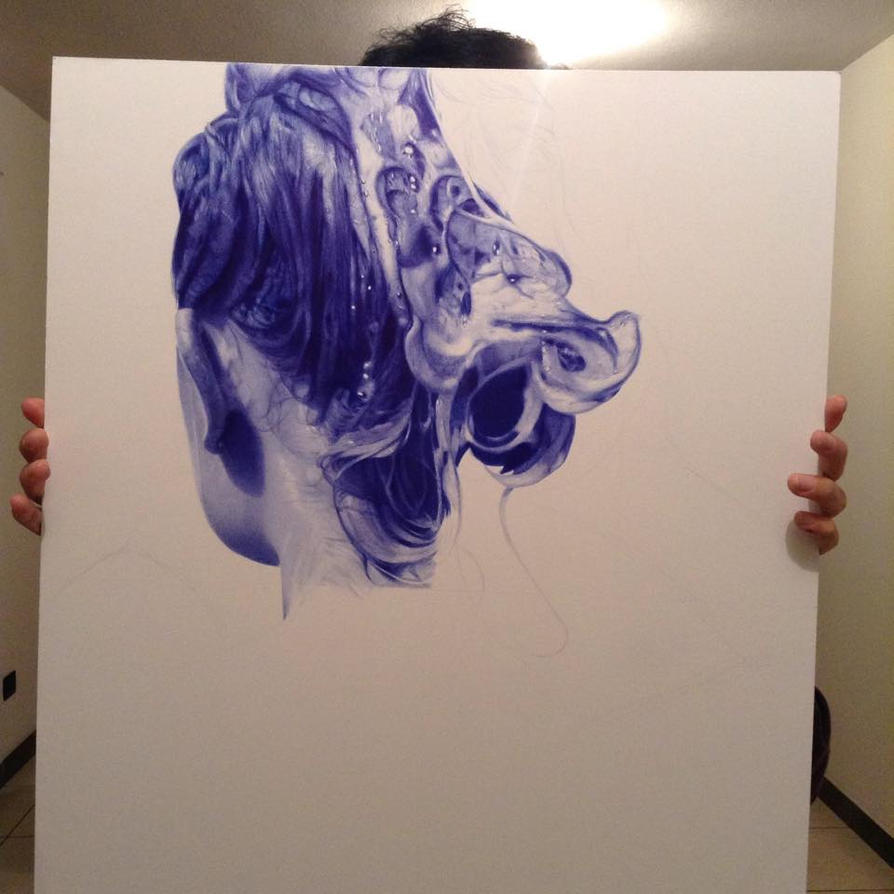 WIP - Ballpoint pen drawing - Holographie I by LopezLorenzana
