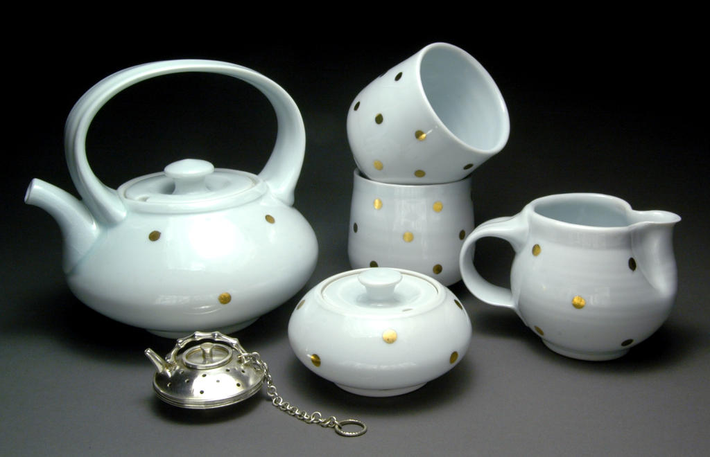Porcelain Tea Set with Gold Dots by YuishCeramics