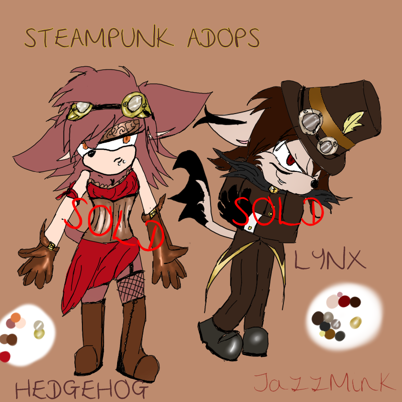 :Sonic: Steampunk Adoptables Hedhog girl and Lynx