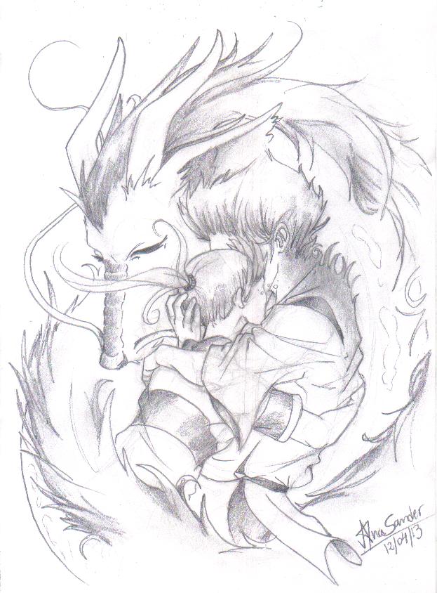 spirited away haku dragon chibi sketch coloring page