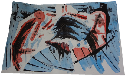 Abstract Painting- Red vs Blue by Norbez