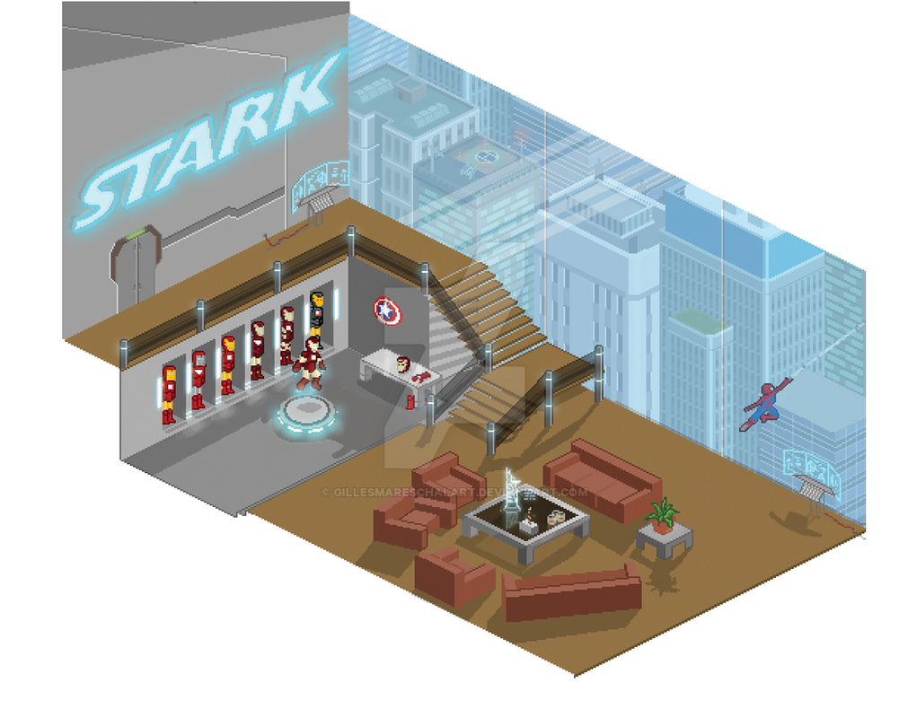 Avengers' Stark Tower - Pixel Art style! by GillesMareschalArt