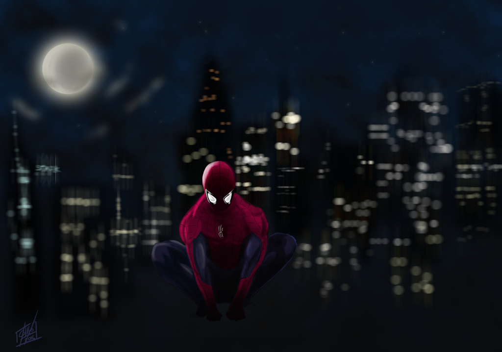 Spider-Man - Lonely Night by GillesMareschalArt