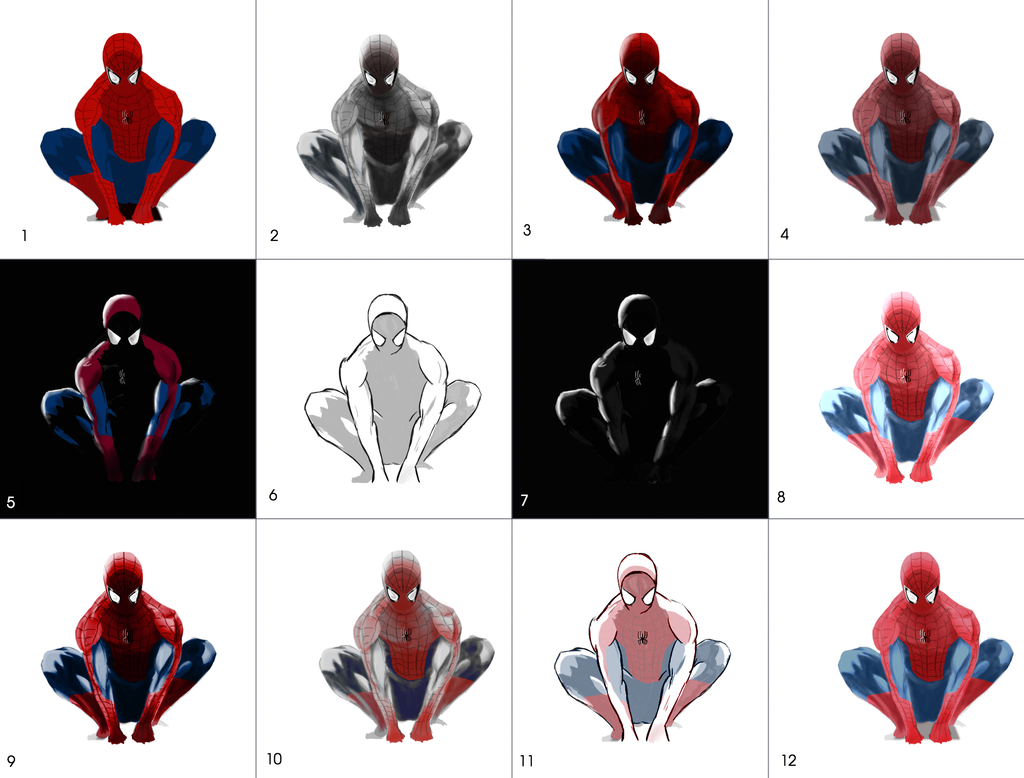 Spider-Man Lonely Night color schemes / styles by GillesMareschalArt