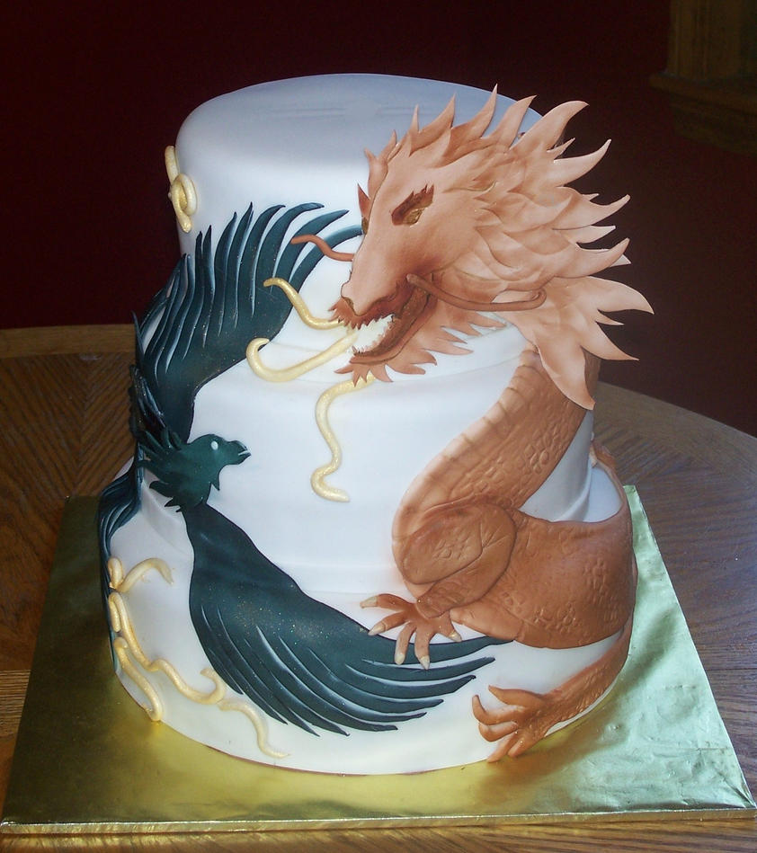 Dragon, Pheonix Wedding Cake by sybillrose