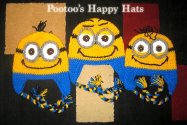 Three Minions Crochet Hats