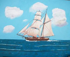 Brig Susan S. under all sail, larboard tack