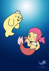 Mermay Day 12- Cherry the Mermaid and Custard by StarWarriorRobby