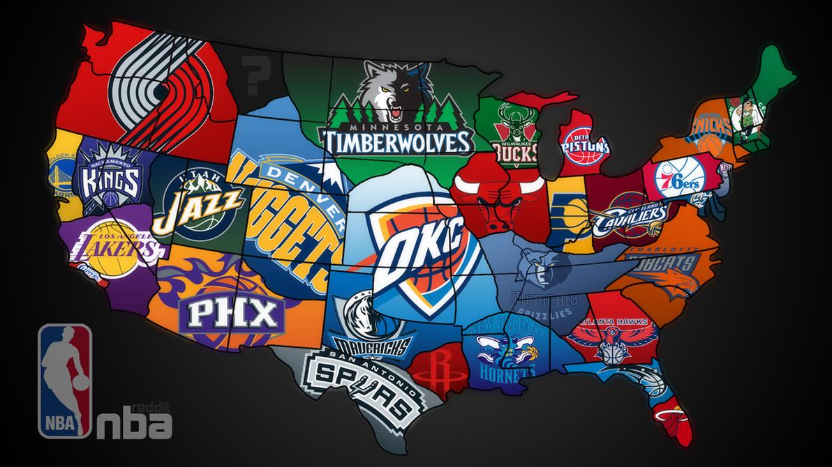 NBA Teams Map By Goldner On DeviantArt - Nba teams map
