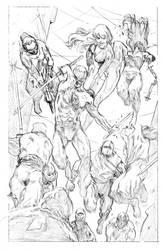 Daredevil and Black Widow teamup vs Ninjas by FrancescoTrifogli
