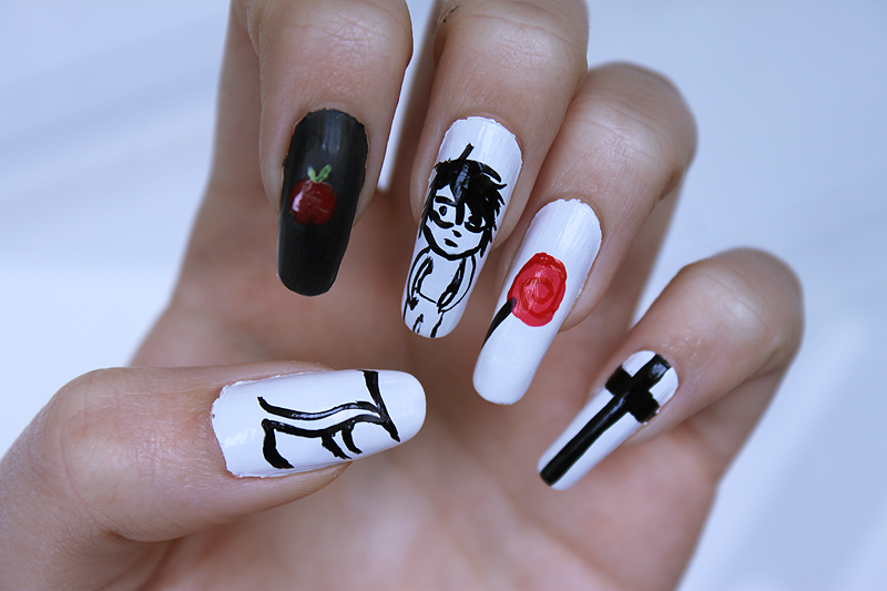 Death Note nails - L by AyaChinatsu