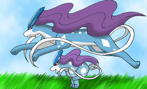 Suicune and a baby by CrystalDraeron