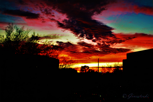 Colorful Red Evening Sky