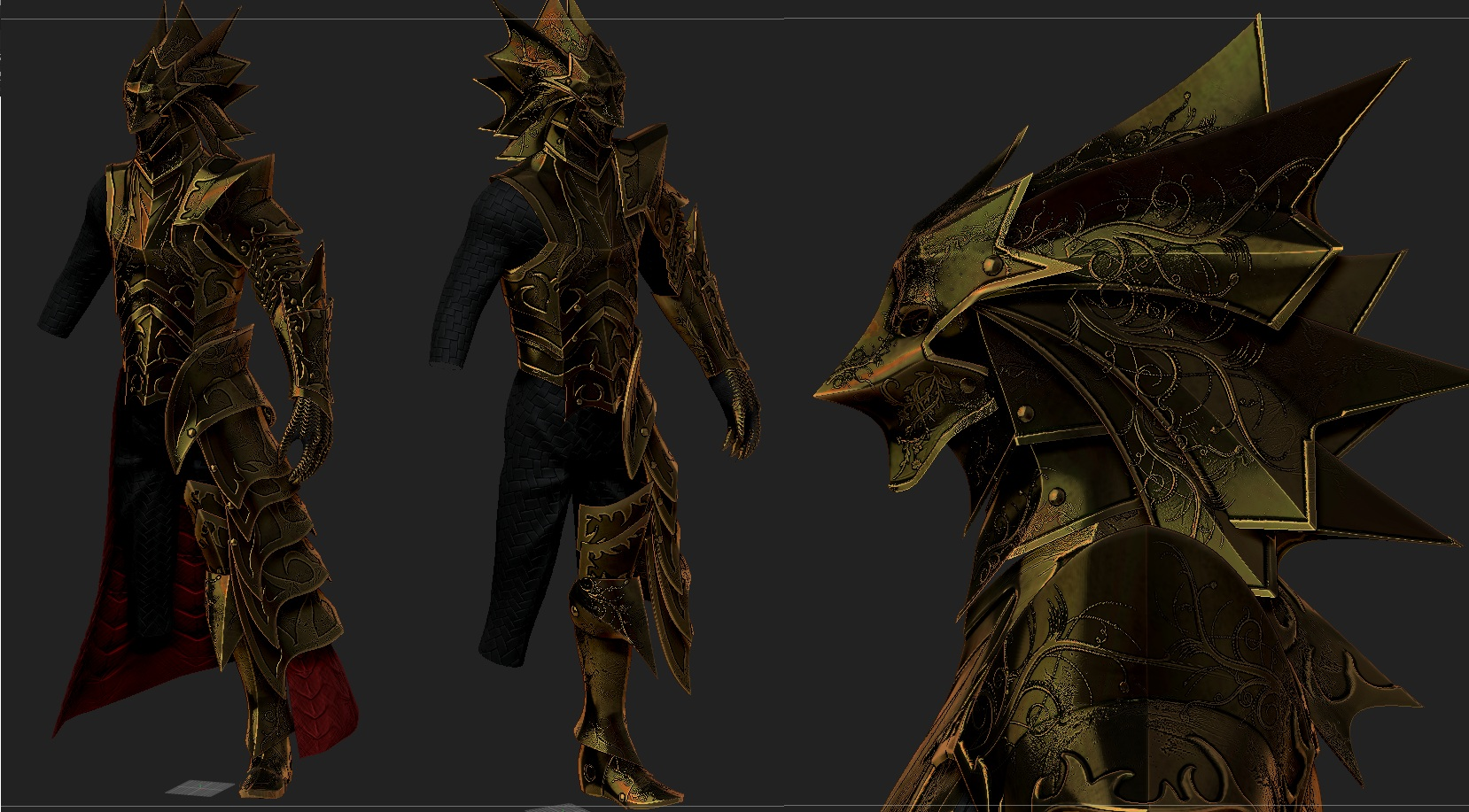 KNight of thorns Gold Armor  for skyrim by Zerofrust