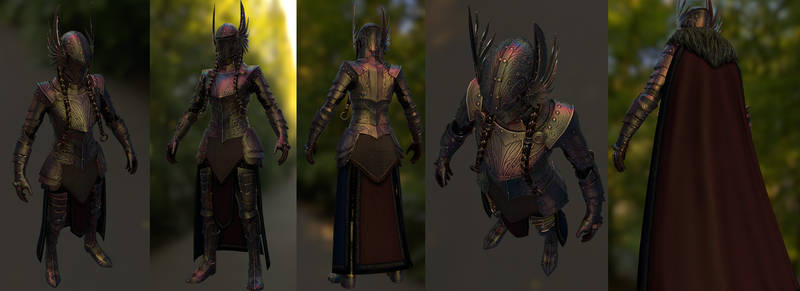 Valkyrie Armor for Skyrim low poly render (WIP)