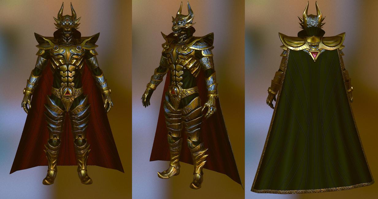 Makai Knight armor low poly render by Zerofrust