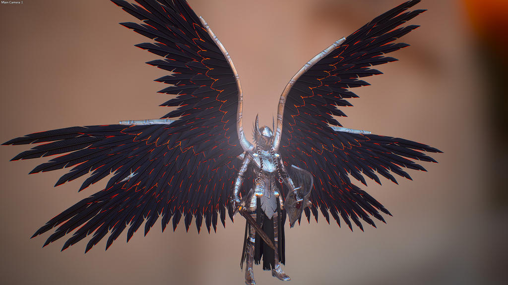 Winged Valkyrie Armor low poly render by Zerofrust