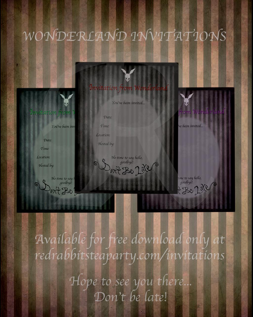 Dark Wonderland Tea Party Invitations by blackkitty84