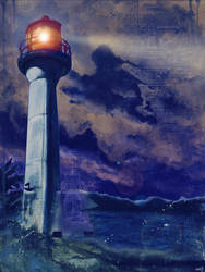 Mayne Island Cloud and Lighthouse (dark)