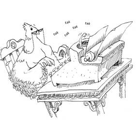Gertie the hen typing by tgau