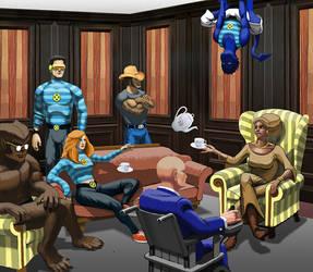 The X-Men have tea. by tgau