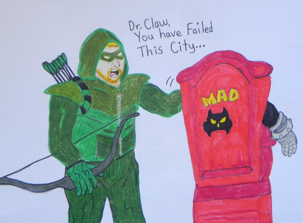 Green Arrow vs Dr. Claw (pencils + markers) by ShebaKoby