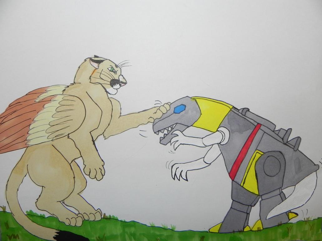 Sheba vs Grimlock by ShebaKoby