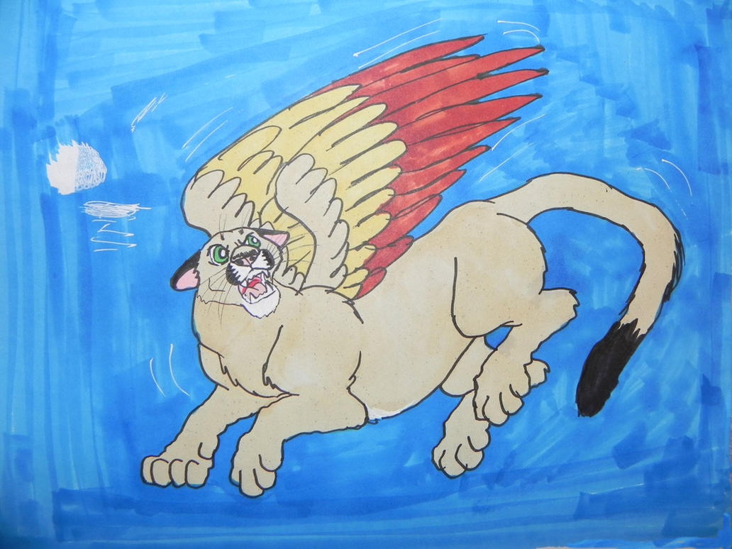 Flying Sheba snarling by ShebaKoby