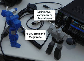 Megatron and Soundwave with radio