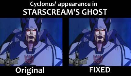 Cyclonus in Starscream's Ghost comparison