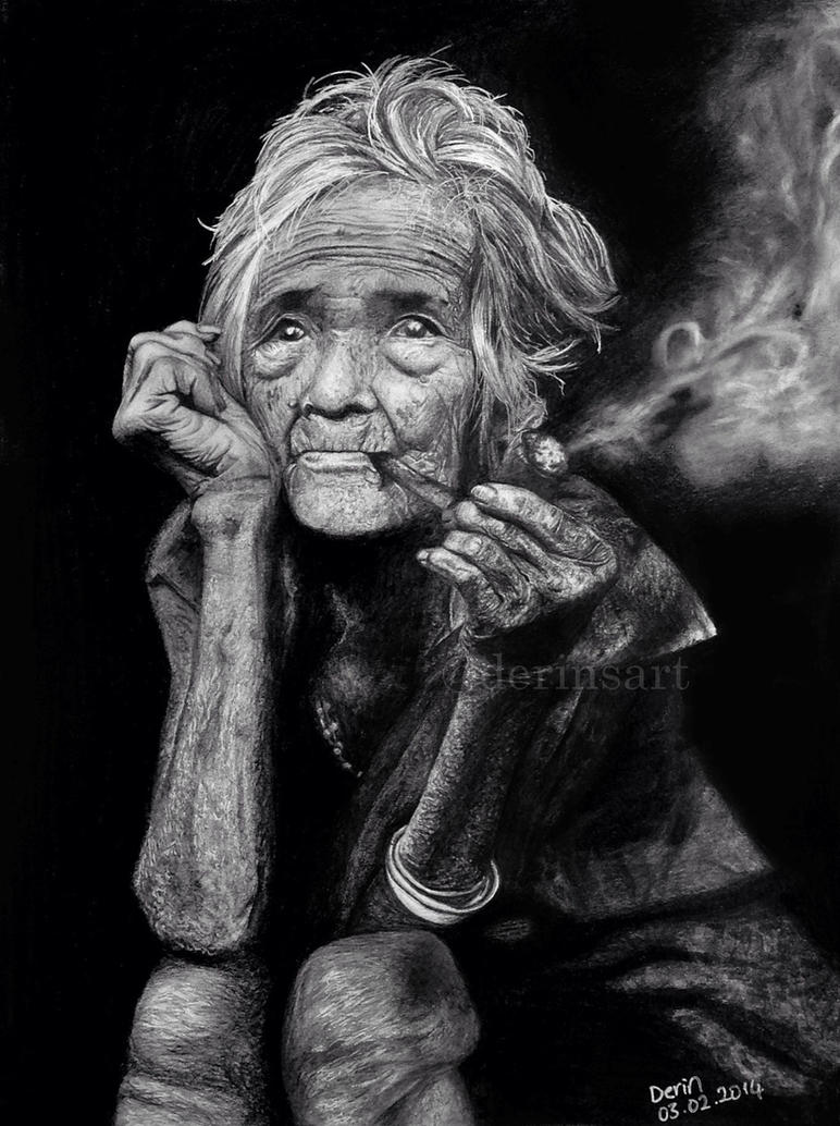 old lady with her pipe by derinsart on deviantart