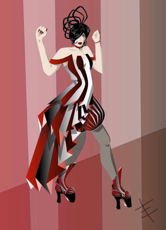Red and Black Dress Design by phantomonex