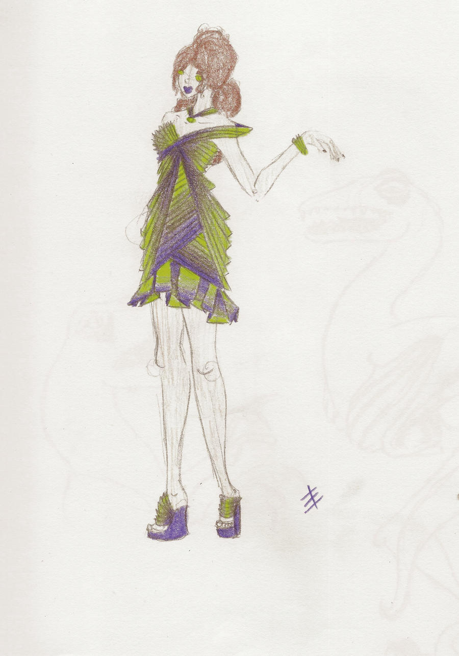 Green and Purple Dress Design by phantomonex