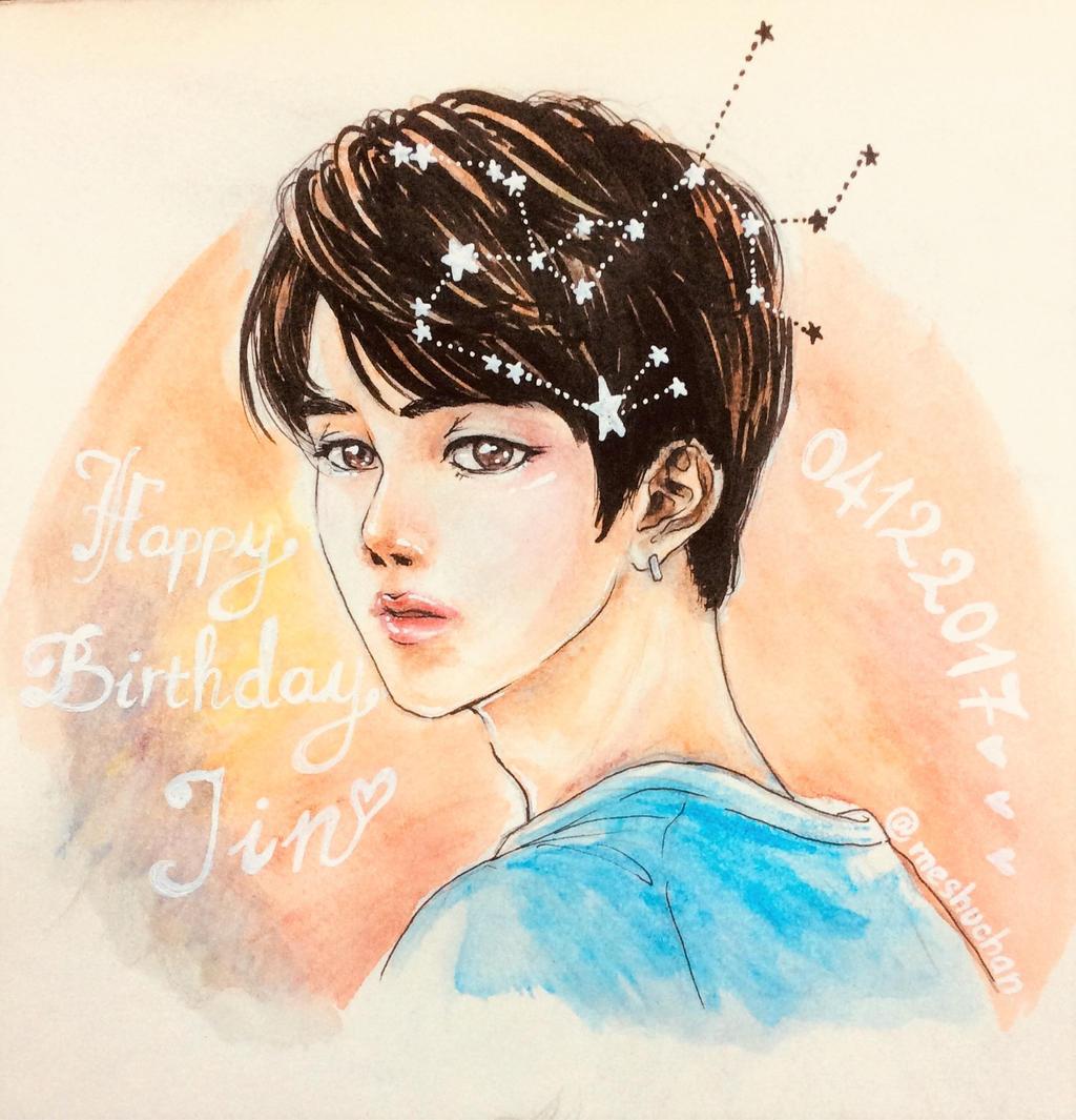 Bts Fanart Happy Birthday Kim Seokjin 0412 By Meshuchan On Deviantart