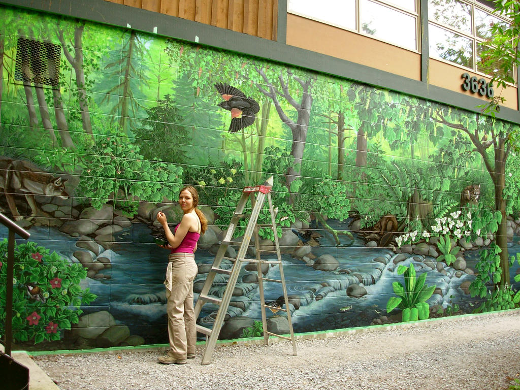 Hyde creek nature murals by artist kim hunter on deviantart for Mural nature