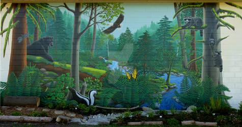 School Mural - West Coast Landscape w. Wildlife by Artist-Kim-Hunter