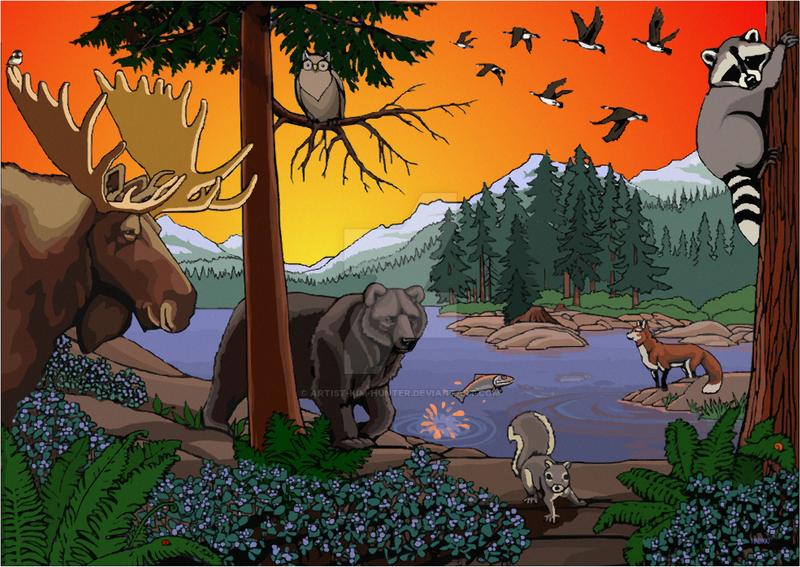 Kid's Canadian Wildlife Art by Artist-Kim-Hunter