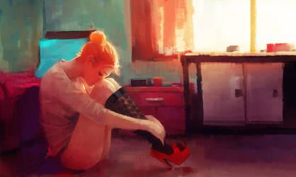 demoiselle la tete dans les genoux by Samkaat