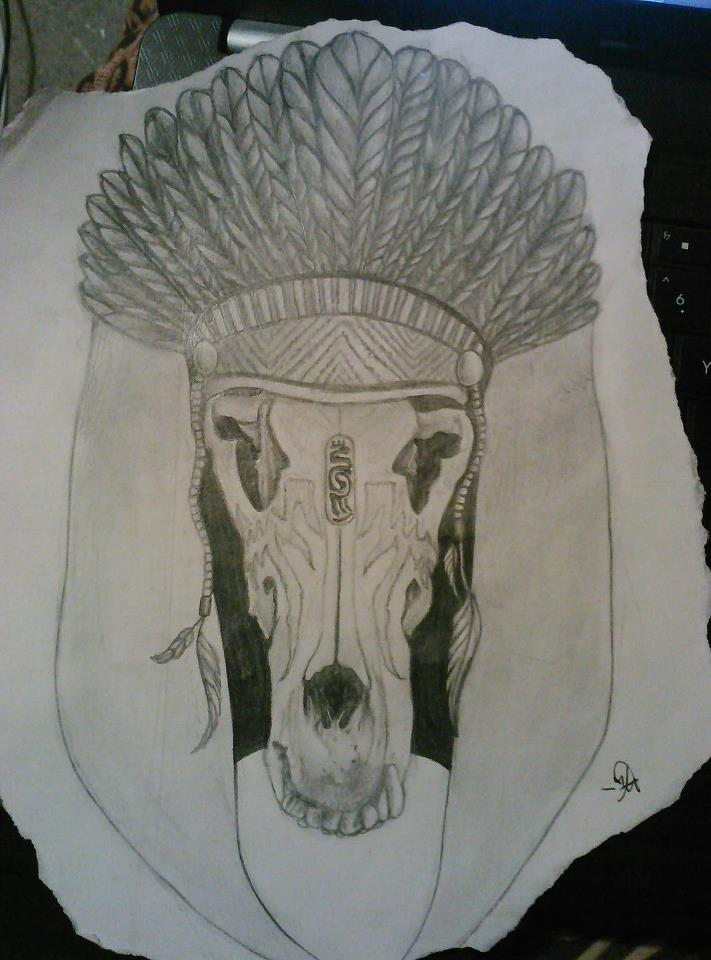Animal Skull Headdress Drawing