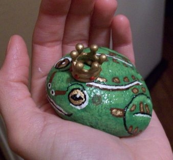 Frog prince hand painted rock by TinyAna