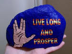 Vulcan salute and greeting painted onto rock by TinyAna