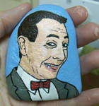 Cartoon Pee-Wee Herman painted onto rock by TinyAna