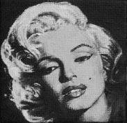 Marilyn Monroe painted onto mini canvas by TinyAna