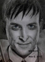 Oswald Cobblepot in graphite (WIP) by TinyAna